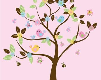Wall decals-  Vinyl tree decal-  Nursery tree-  Bird decals-  Flowers Ladybugs