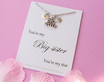 Big sister necklace, Sister necklace,Best sister necklace, Message card necklace,  inspirational message necklace, ,, , mothers day gift