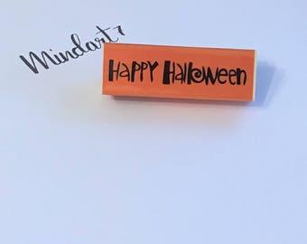 """Wooden stamp """"Happy Halloween"""""""