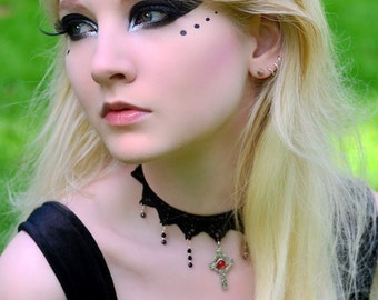 Gothic lace choker with celtic cross and garnet red Swarovski cascade IMMORTAL