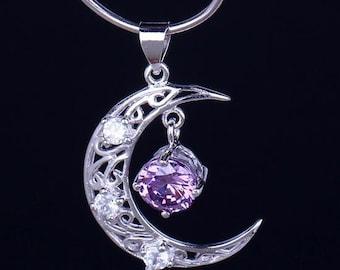 Silver Amethyst Moon Necklace, moon pendant, amethyst jewelry, silver pendant necklace, Sterling Silver Pendant