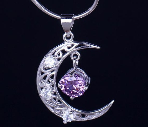 Silver amethyst moon necklace moon pendant amethyst jewelry silver amethyst moon necklace moon pendant amethyst jewelry silver pendant necklace sterling silver pendant aloadofball Image collections