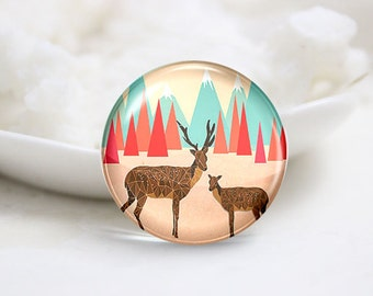 Handmade Round Photo glass Cabochons-Deer  (P2943)