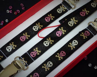 Pink skull - Gift box clip pacifier and clip blanket Ribbon silver mottled black background
