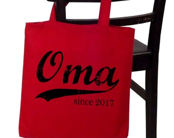 Oma since ANY year, personalized canvas tote, screen print tote bag, grandmother gift, Christmas gift, new grandma gift, oma gift