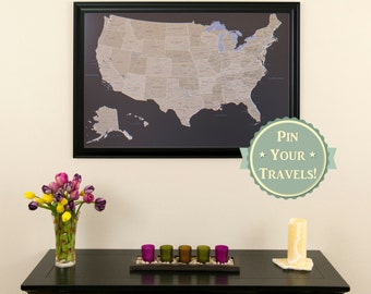 Personalized travel pin maps to track lifes by pushpintravelmaps earth toned us push pin travel map with pins and frame 24x36 gumiabroncs Choice Image