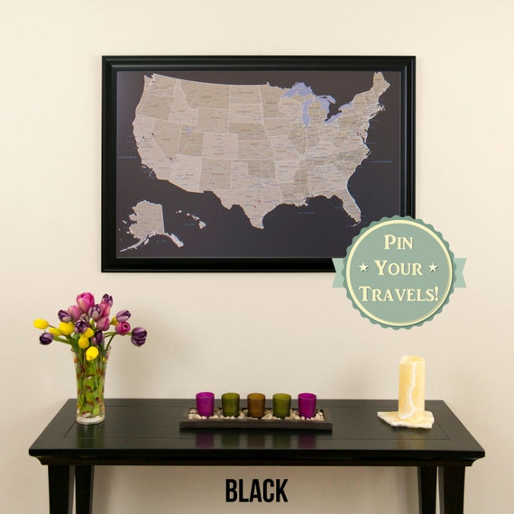 Earth Toned US Push Pin Travel Map with Pins and Frame
