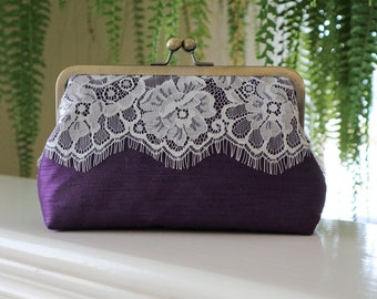 Silk And Eyelash Lace Clutch,Purple and Ivory Eyelash Lace Clutch,Bridal Accessories,Wedding Clutch, Bridesmaid Clutch