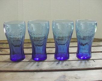 Coca Cola Glassware Set Cobalt Blue of 4 Retired 2011