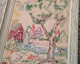 Crewel Embroidered Country Scene picture framed cottage look vintage