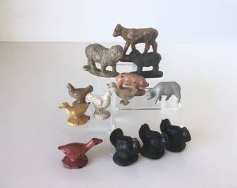 Vintage Toy Farm Animals Set of 13