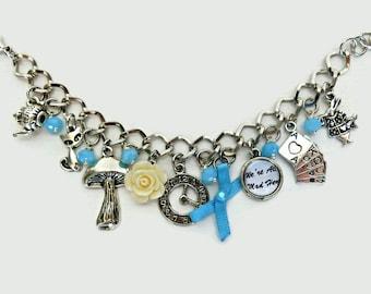Alice in Wonderland bracelet, Alice in wonderland gift, Alice in Wonderland jewelry, We're all mad here bracelet, Cheshire cat bracelet