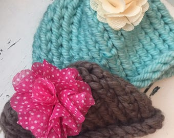 hand knitted girl's hat, flower hat, hand knitted toddler hat
