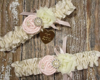 Personalized Wedding Garter Set in Ivory and Blush with Handmade Roses, Pearls, Rhinestones and Engraving
