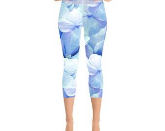 Floral Yoga Leggings Capri - Comfy leggings for Yoga practice - Periwinkle, Ultra Violet hydrangea Capri Leggings by Glimmersmith