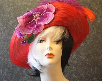 Red Kentucky Derby Hat, Derby Hat, Garden Party Hat, Tea Party Hat, Easter Hat, Church Hat, Wedding Hat, Downton Abbey Hat, hat Red Hat 738