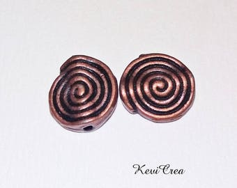 10 x copper swirl metal beads
