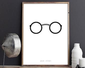 Imagine, John Lennon, Beatles, Song, Illustrations, Typography Poster, Gift Idea, Office Poster, Home Poster, Gift Poster, Wall Art Decor