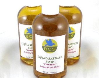 Carnation Essential Oil Blend Liquid Bastille Soap Batch #224 Scented with Ylang Ylang, Clove, Black Pepper Essential Oils