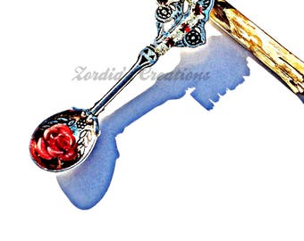 Christmas themed jewelry, swarovski crystal jewelry, silver spoon pendant, silver spoon necklace, christmas costume jewelry
