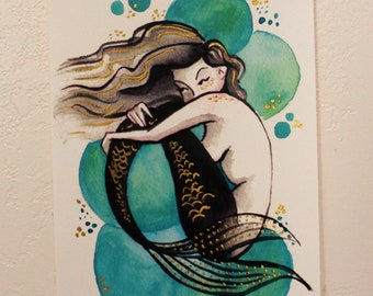 Original Painting // Mermaid Bubbles {Green}