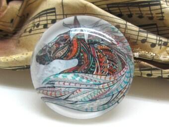 2 cabochons 20 mm glass horse Tribal 1-20 mm