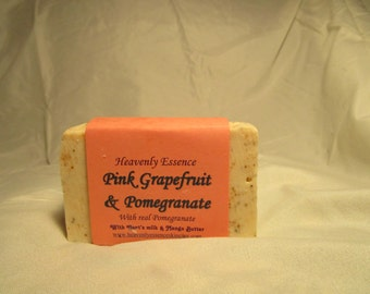 Pink Grapefruit & Pomegranate Olive Oil Soap with Pomegranate Tea