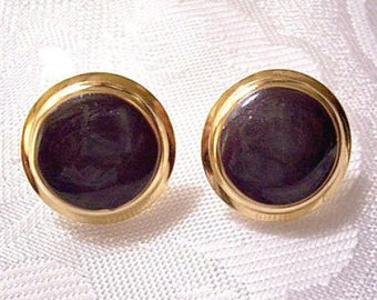 Purple Eggplant Marbled Discs Pierced Post Stud Earrings Gold Tone Vintage Large Round Domed Double Ribbed Edges