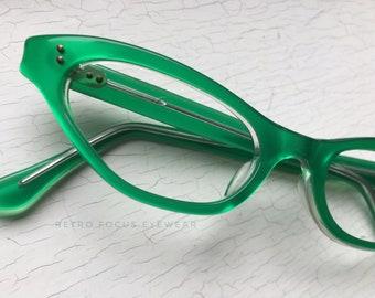 50's French Cat Eye Eyeglasses Green Slender Eyewear Glasses Frames Vintage Made in France