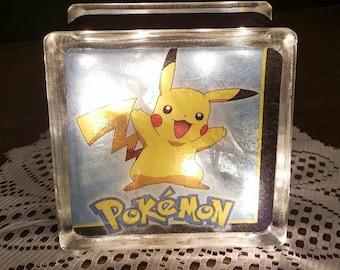 POKEMON Lighted Glass Block Nightlight and Decoration, Pikachu and Meowth