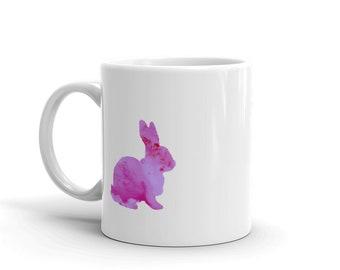 Pink Bunny, Watercolor Inspired Ceramic Mug