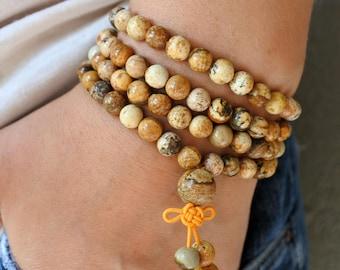 108 Mala Bead Yoga Mala Bracelet CREATIVE VISUALIZATION - Picture JASPER, Meditation Bracelet,Gemstone Prayer Bead Bracelet,Handmade Jewelry