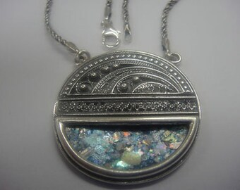 Exclusive Round 925 Sterling Silver Necklace, Ancient Roman Glass Necklace, Roman Glass Pendant, Unique Jewelry