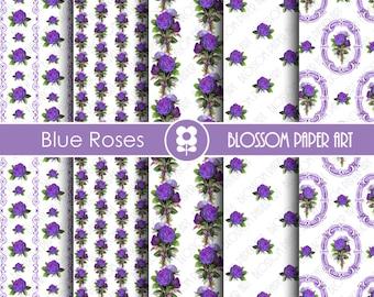Blue Digital Paper, Roses Scrapbooking Digital Paper Pack, Vintage Roses Scrapbooking, Decoupage - Collage Sheet - Digital Paper - 1822