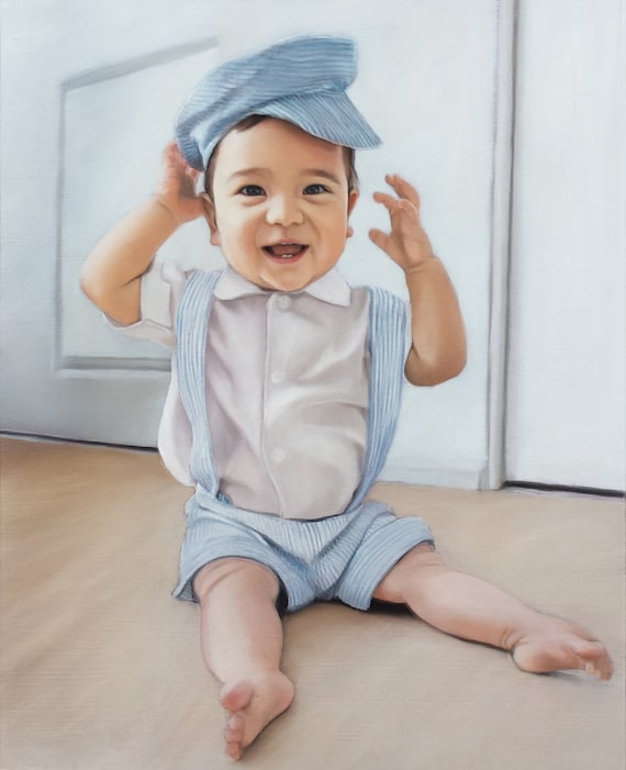 Reserved - CUSTOM PORTRAIT - Custom Painting - Oil Painting of Baby