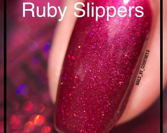 Ruby Slippers - Royal Red/Purple Shimmering Holographic Glitter Nail Polish