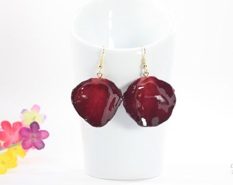 SALE Rose Petal Earrings, Burgundy Earrings, Real Rose Petal Earrings, Red Rose Petals, Large Rose Petals, Real Rose Petal Jewelry SALE278