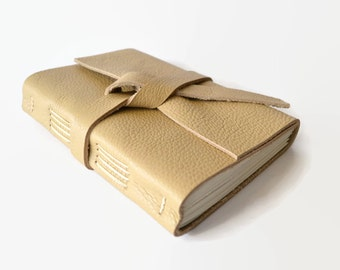 Leather Bound Notebook Unlined Journal, Blank Sketchbook for Drawing, Small Sketch book, Unlined Writing Notebook, Tan Beige  4x6