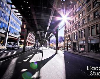 Chicago Under The L Fine Art Photograph on Metallic Paper