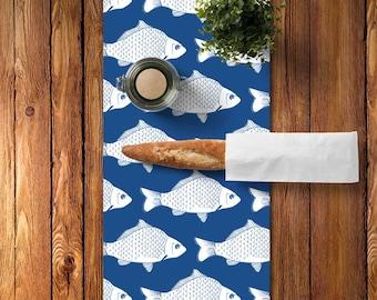 45 colors Fish Table Runner, Fish Kitchen Decor, Fishing Table Runner, Lake Table Runner, Blue Table Runner, Lake House Decor