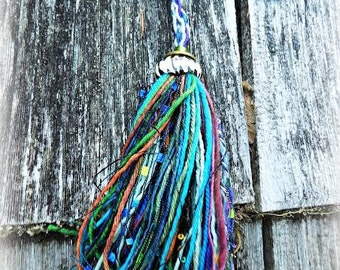 Recycled Art Tassel with Beaded Accents