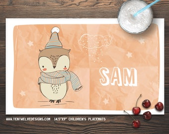 SWEET OWL Personalized Placemat for Kids - Children's Placemat, Personalized Kid's Gift, Fast Shipping - owl, sweet, stars