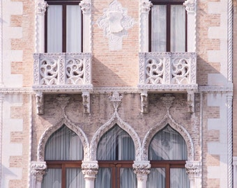 Venice Architecture Photography -  Venetian Gothic Windows, Italy Travel Photograph, Neutral Home Decor, Large Wall Art