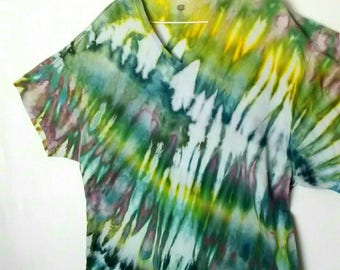 Green Yellow Teal Ice Dyed Tee Shirt men's size XL