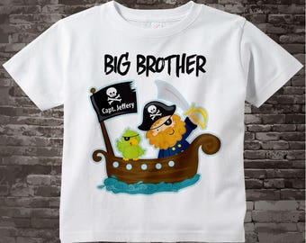 Big Brother Pirate Shirt Personalized Pirate Shirt or Onesie with Your Child's Name 08232012a3