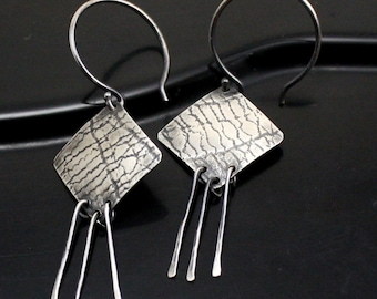 Embossed Diamond Shaped Earrings in Sterling Silver