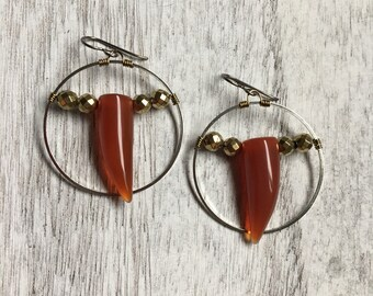 Red orange gemstone agate horn carnelian like silver hoop earrings tusk spike badass niobium hypoallergenic sensitive ears handmade biker