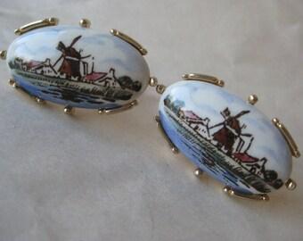 Wind Mill Holland Gold Cuff Links Porcelain Blue Green Brown Delft Vintage