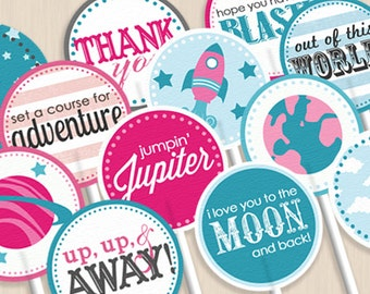 SPACE ROCKET Cupcake Toppers in Pink and Teal- Instant Printable Download