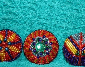 Vintage Hand Beaded Buttons, Set of Three Beautiful !